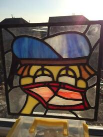 Disney Donald Duck themed stained glass panel