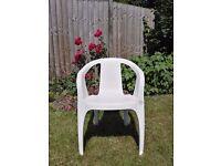4 x White, Plastic, Garden Chairs