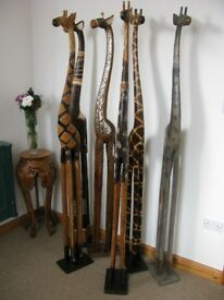 200CM 2METRE **NEW** WOODEN GIRAFFES – UK DELIVERY - CHOSE FROM 6 STYLES ALL HAND CARVED