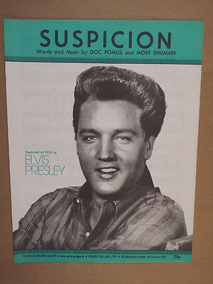 song sheet SUSPICION Elvis Presley 1962