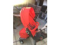 red stokke xplory v4 pram/stroller
