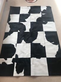 Black & white cow hide leather rug