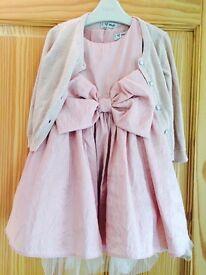 NEXT DUSKY PINK DRESS with cardigan