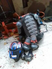 Lads,back protector,helmet,knee pads & goggles
