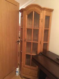 100% SOLID PINE GLASS CABINET, 4 SHELVES + DRAWER £159 ONO