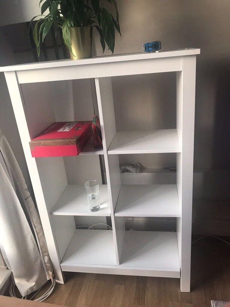 Ikea White Bookcase 6 Deep Shelves Useful Living Room