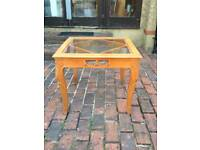 UNIQUE TABLE WITH MOUNTED BEVELLED-GLASS & CARVED WOODEN FRAME