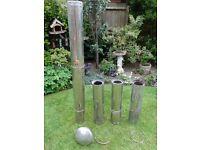 Flue (used) from oil boiler with cap. 5x73cm + 1x28cm lengths. 17.5cm dia.(12.5 internal)