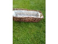 Wicker hang over fence planter