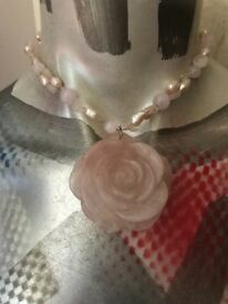 Rose Quartz rose shaped pendant necklace