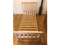 Mothercare cot bed and matching tall boy drawers white wash colour