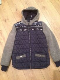 Boys navy and grey hooded winter jacket age 14 years