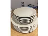 7 dinner plates +7 side plates from ikea beige colour