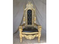BRAND NEW Lion King Throne Chair Ornate French in Gold leaf & Black leather Asian Wedding Chairs