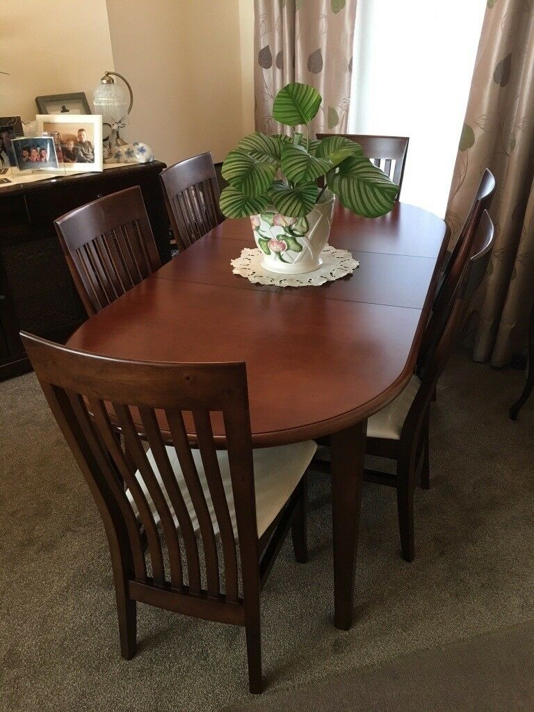 4/6 Seater Extendable Mahogany Dining Table & 6 Chairs ...