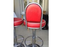 2 red 'American Diner' bar stools