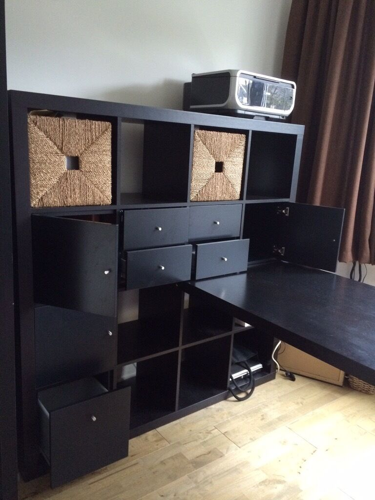 ikea expedit kallax storage unit desk with drawers cupboards baskets in boston spa. Black Bedroom Furniture Sets. Home Design Ideas