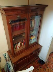 Antique bookcase and cupboard.