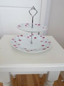 2 tier porcelain cake stand - boxed