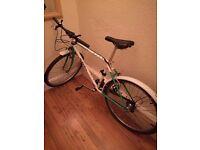 White/turquoise hybrid bike small/medium size