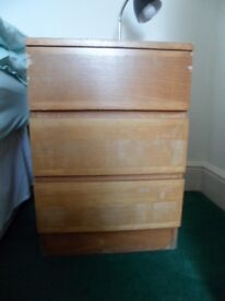 CHEST OF THREE WOODEN DRAWERS.
