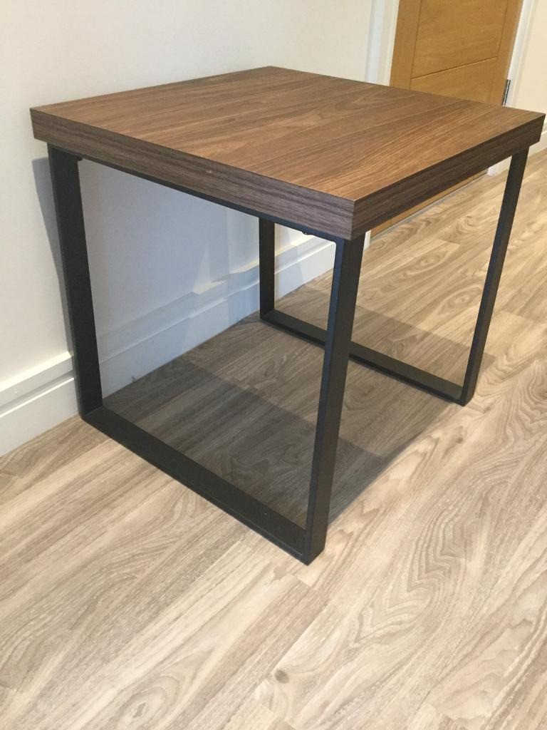 Next Side Table In Walnut With Black Metal Legs Excellent Condition In Harrogate North Yorkshire Gumtree