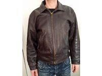 "Mens vintage brown leather jacket 40"" Regular"