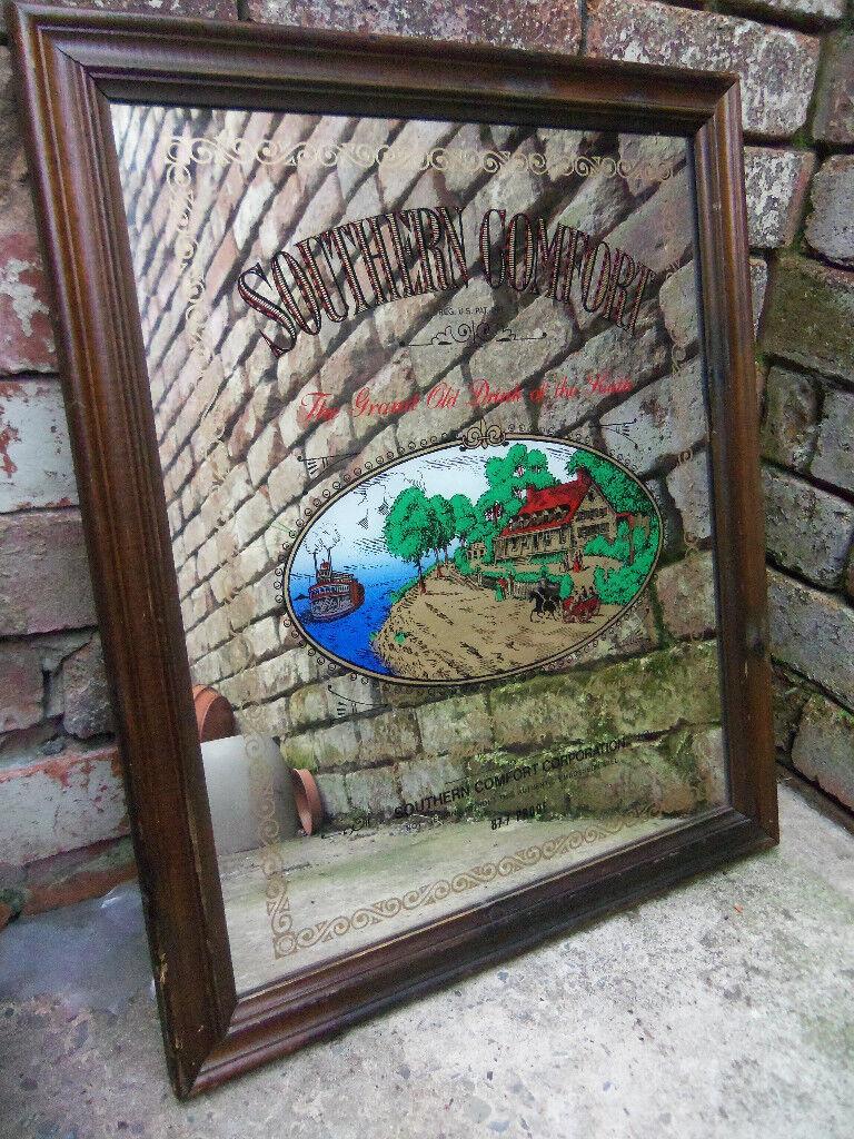 Breweriana man cave - Vintage advertising pub mirror Southern Comfort W 50 H 60cm