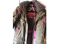Khaki and pink Superdry size8-10 winter mid length jacket