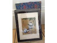 Chinese panda 🐼 hand stitched picture in frame and gift box