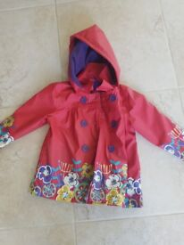 Red flowery waterproof raincoat with hood