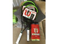 TWO BRAND NEW TENNIS RACKETS AND TENNIS BALLS