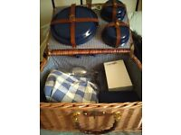 Traditional Wicker Picnic Hamper For 4, Classic Blue Lining & Accessories, Lantern, Wine Cool Pack