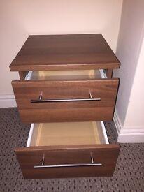 Designer Sheerwood walnut 2 drawer brand new bedside cabinet