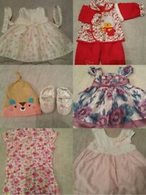 JOB LOT 6-12 MONTH BABY GIRL CLOTHES - DRESSES, WINTER OUTFIT, HAT, SHOES. ETC