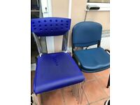 10 Blue and Chrome Chairs