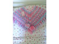 Handmade crochet little girls poncho
