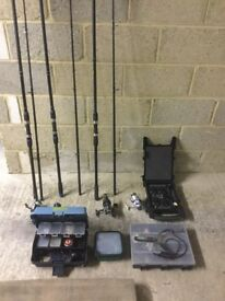 Fishing gear job lot, 5 rods+bags, 3 reels, rod rack, shelter, line monitor, full gear box, etc