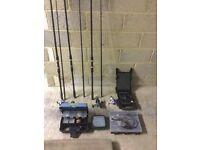 Fishing gear job lot, 5 rods+bags, 3 reels, rod rack, shelter, line monitor, full gear box, etc