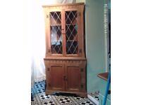 light oak corner cupboard vintage freestanding leaded glass restored stripped waxed polished