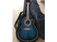 Ashland by Crafter semi acoustic bowl back guitar with strap, gig bag, stand and spare strings