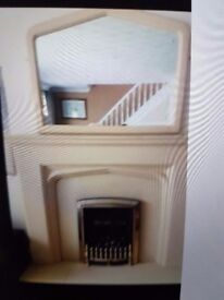Fireplace fire and matching big mirror