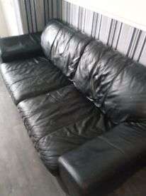 3 and 2 seater black leather sofa free