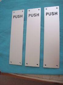PUSH DOOR PLATES x 3 ENGRAVED SILVER DOOR FINGER PLATES PUSH DOOR ACCESSORIES