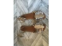 Size 5- NEW LOOK - Wide fit Gold Sandals