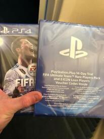 Fifa 18 unopened with fifa packs and 14 day ps plus membership!