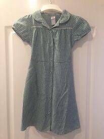 Green Gingham Summer Dresses x2 age 8-9 yrs