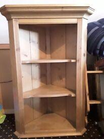 Wooden corner shelf and regular shelf/display unit.