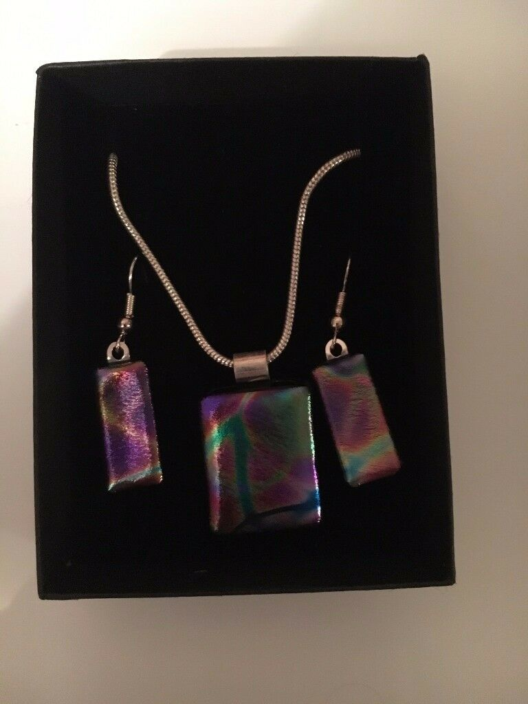 Dichroic Glass Necklace & Earring Set £10