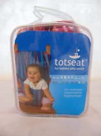 Totseat, Washable Material Travel Highchair, Pink Multi Stripe, Excellent Condition - Like New